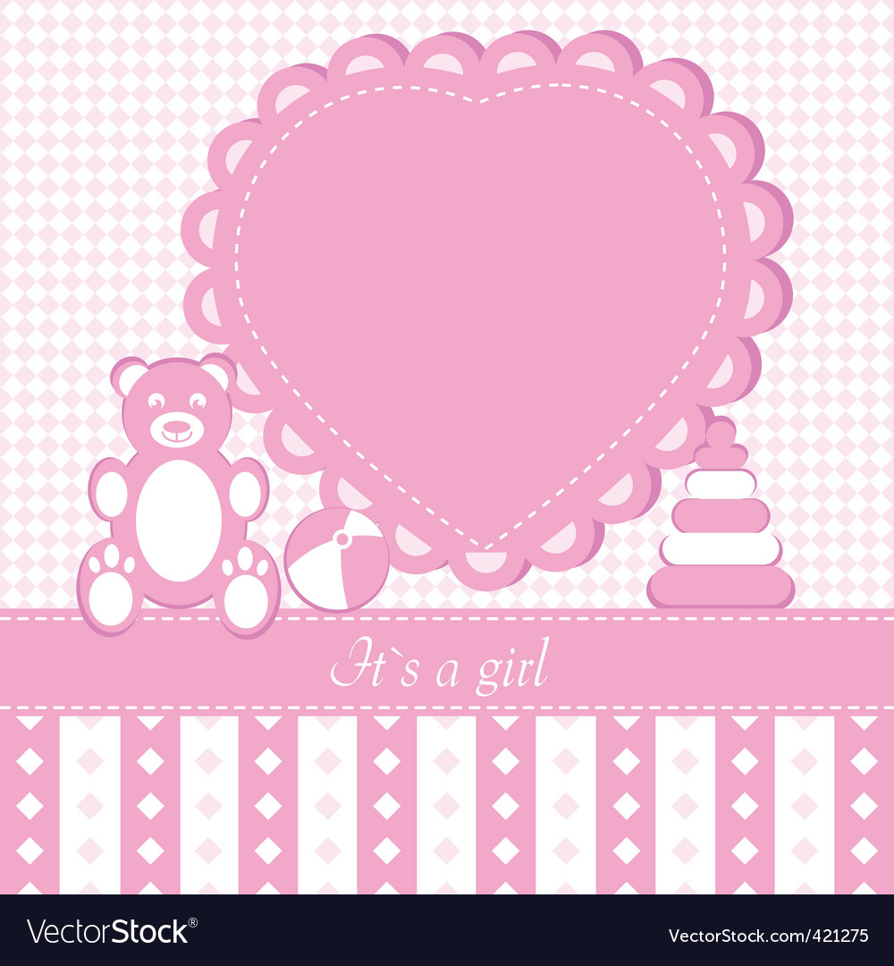 Baby girl shower invitation ca vector | Price: 1 Credit (USD $1)
