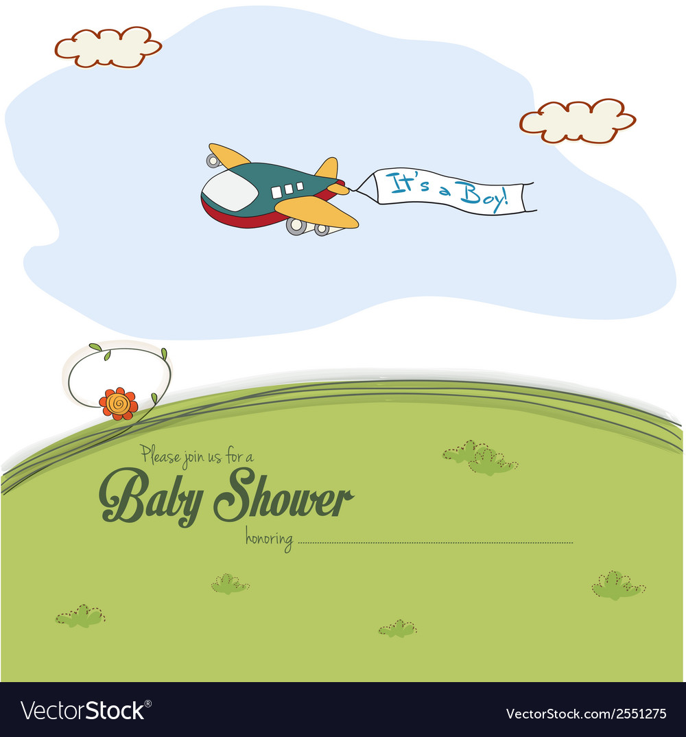 Baby shower card with cute plane vector | Price: 1 Credit (USD $1)