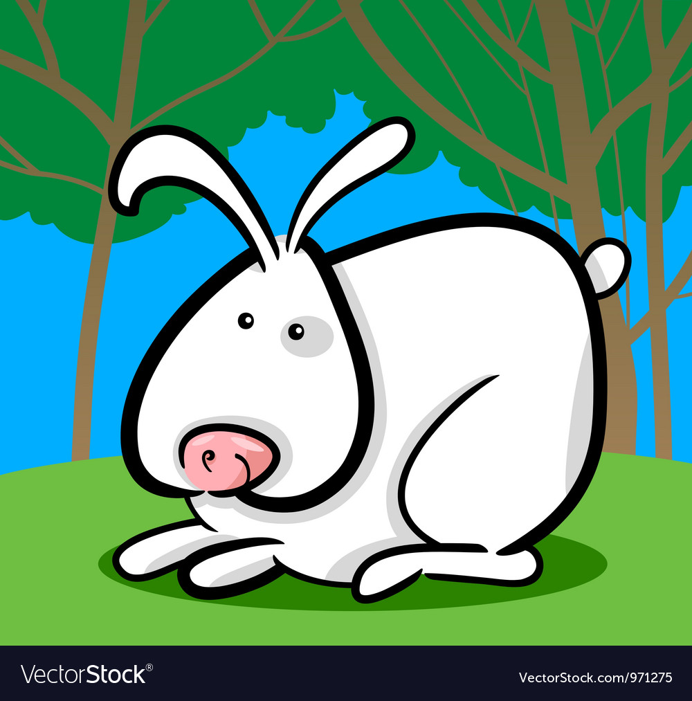 Cartoon of white bunny vector | Price: 3 Credit (USD $3)