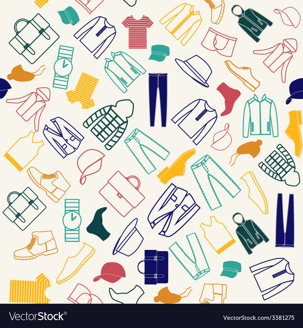 Colorful pattern of fashion men clothes vector | Price: 1 Credit (USD $1)