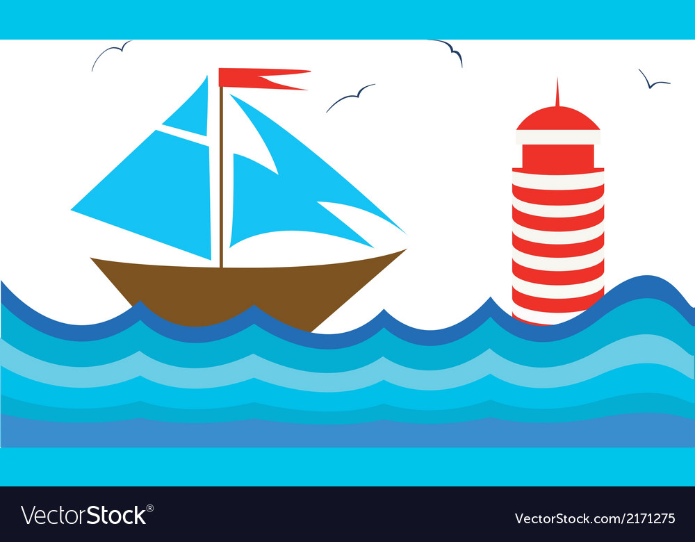 Colorful with a sailboot vector | Price: 1 Credit (USD $1)