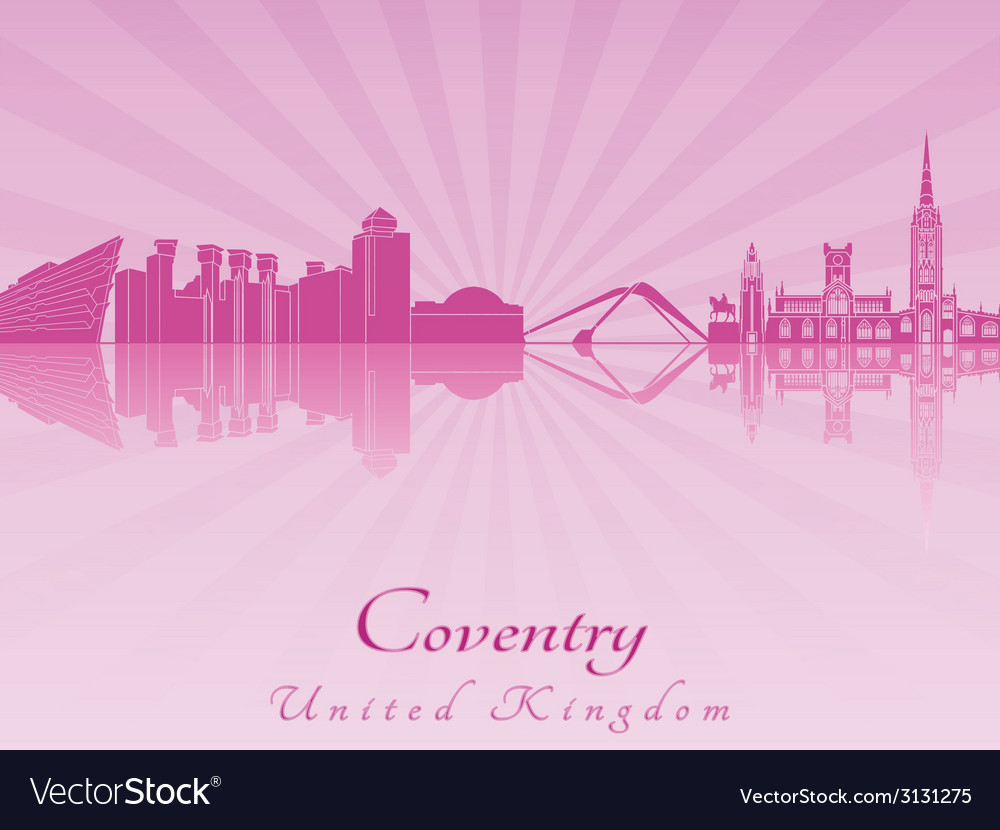 Coventry skyline in purple radiant orchid vector | Price: 1 Credit (USD $1)