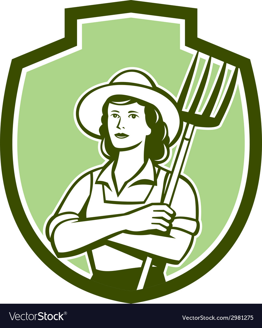 Female organic farmer pitchfork shield retro vector | Price: 1 Credit (USD $1)