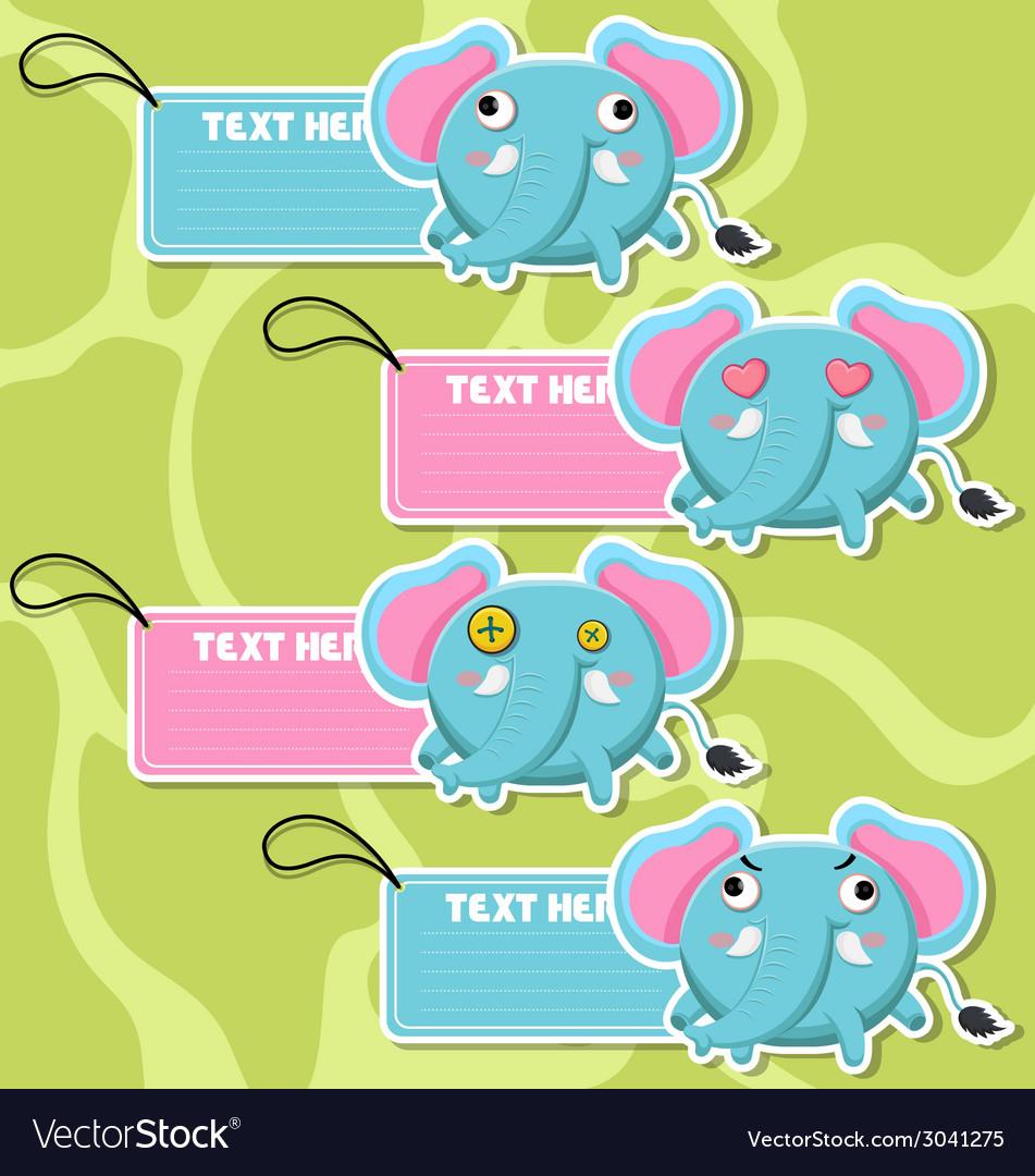 Four cute cartoon elephants stickers vector | Price: 1 Credit (USD $1)