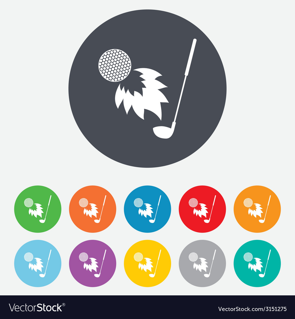 Golf fireball with club sign icon sport symbol vector | Price: 1 Credit (USD $1)