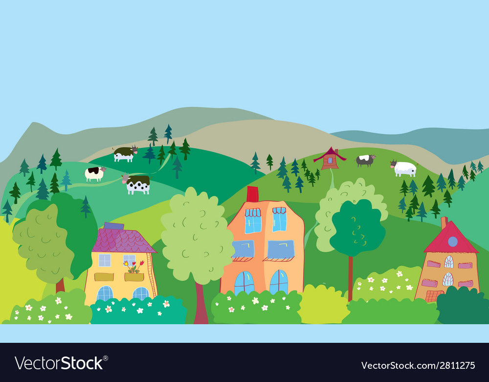 Landscape with mountain hills cows trees village vector | Price: 1 Credit (USD $1)