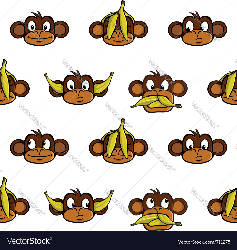 Monkey heads background vector | Price: 1 Credit (USD $1)