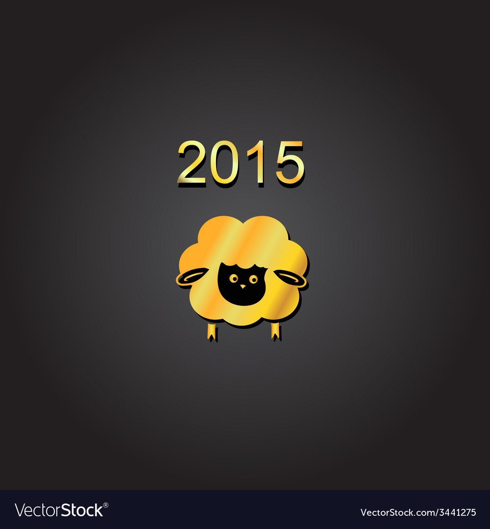 New year lamb golden design symbol of 2015 sheep vector | Price: 1 Credit (USD $1)