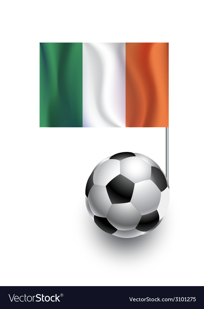 Soccer balls or footballs with flag of ireland vector | Price: 1 Credit (USD $1)