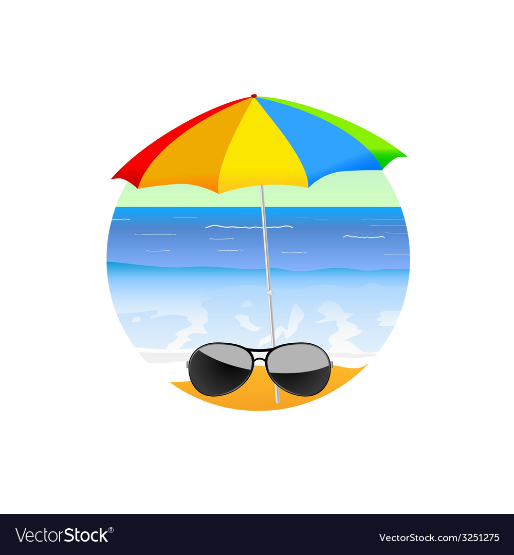 Sunglass on the beach cartoon art vector | Price: 1 Credit (USD $1)