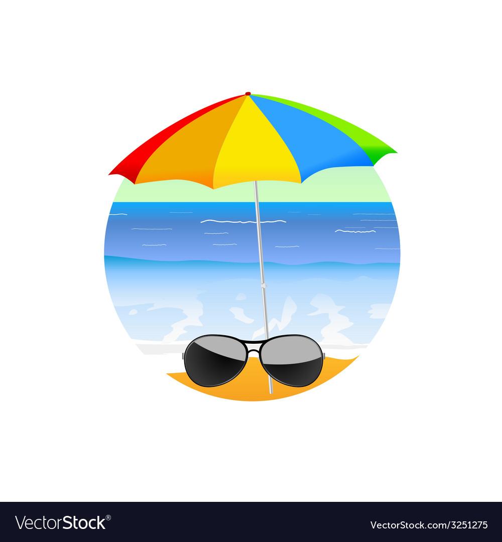Sunglass on the beach cartoon art vector | Price: 1 Credit (USD $1)