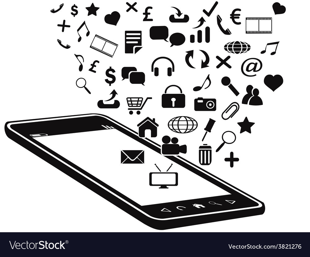 Black mobile phone and icons vector | Price: 1 Credit (USD $1)