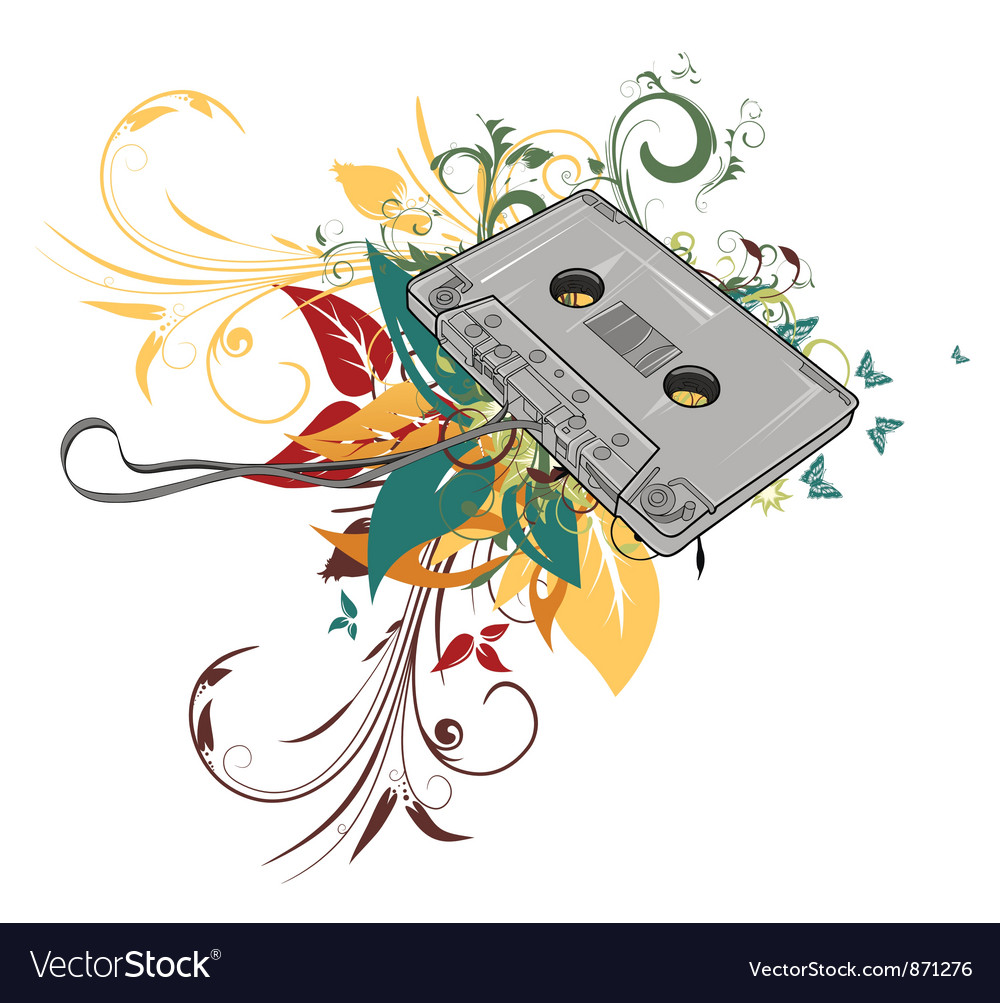 Cassette with floral vector | Price: 1 Credit (USD $1)