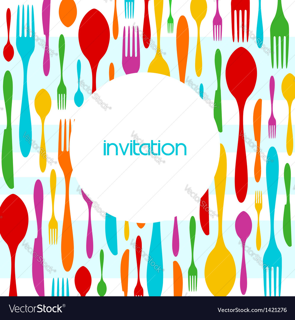 Cutlery colorful pattern invitation vector | Price: 1 Credit (USD $1)