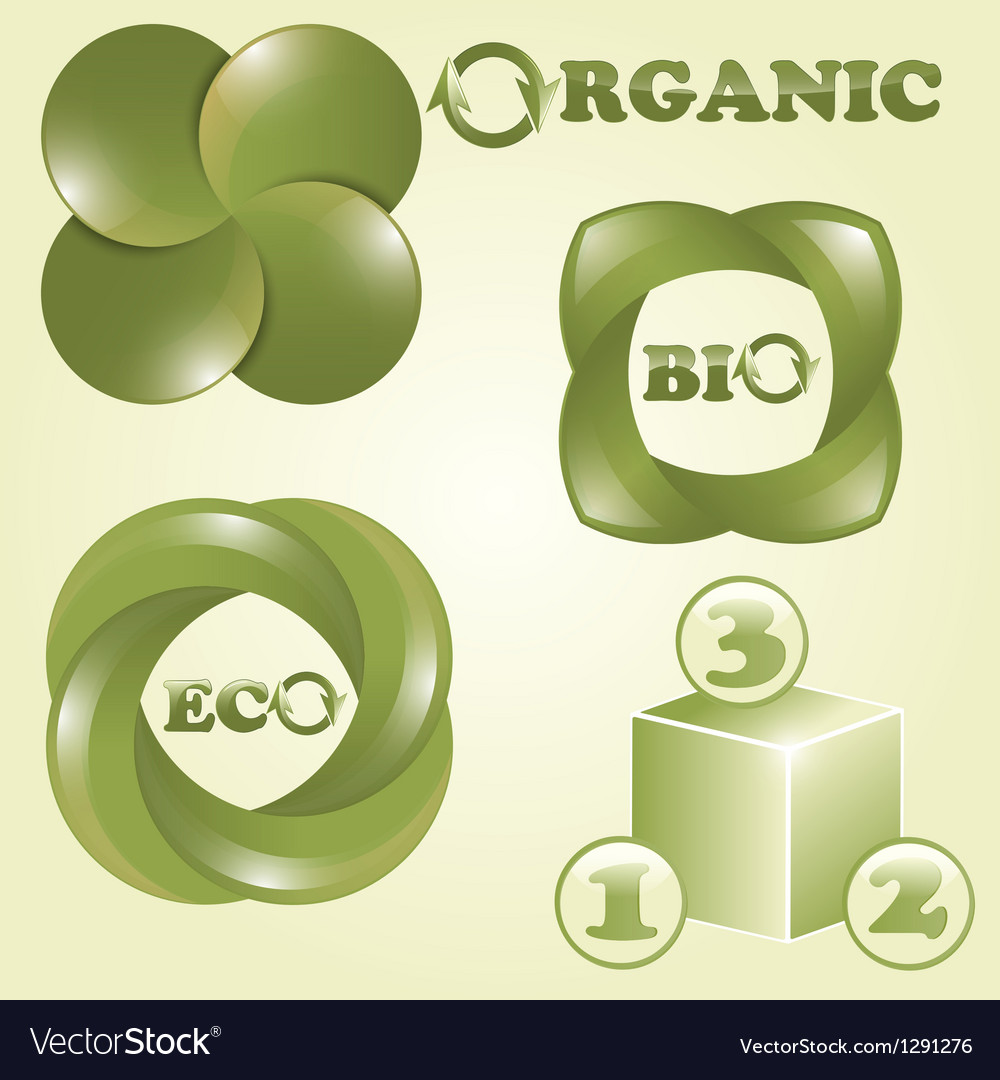Eco bio and organic labels vector | Price: 1 Credit (USD $1)