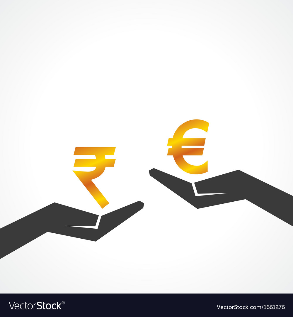 Hand hold rupee and euro symbol to compare vector | Price: 1 Credit (USD $1)