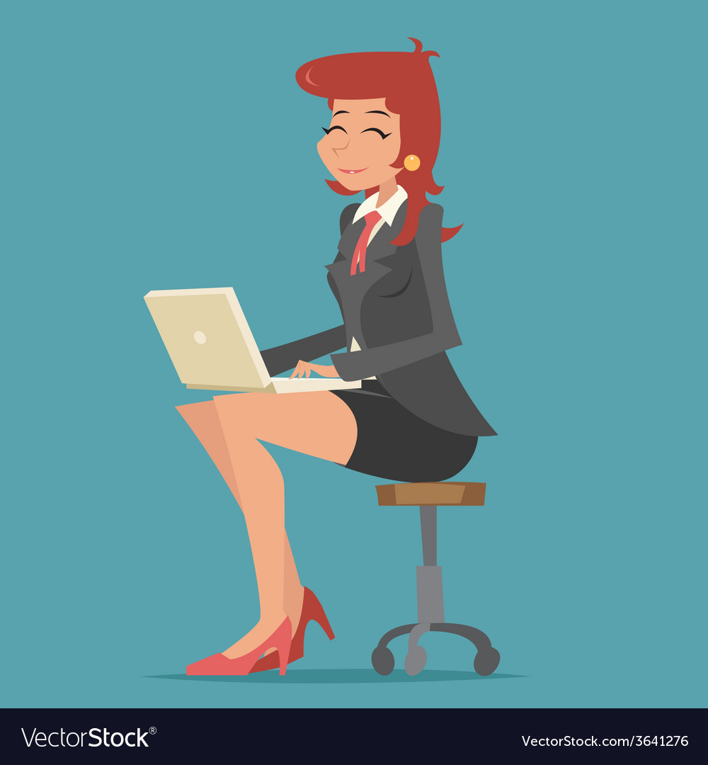 Happy smiling business woman lady character vector | Price: 1 Credit (USD $1)