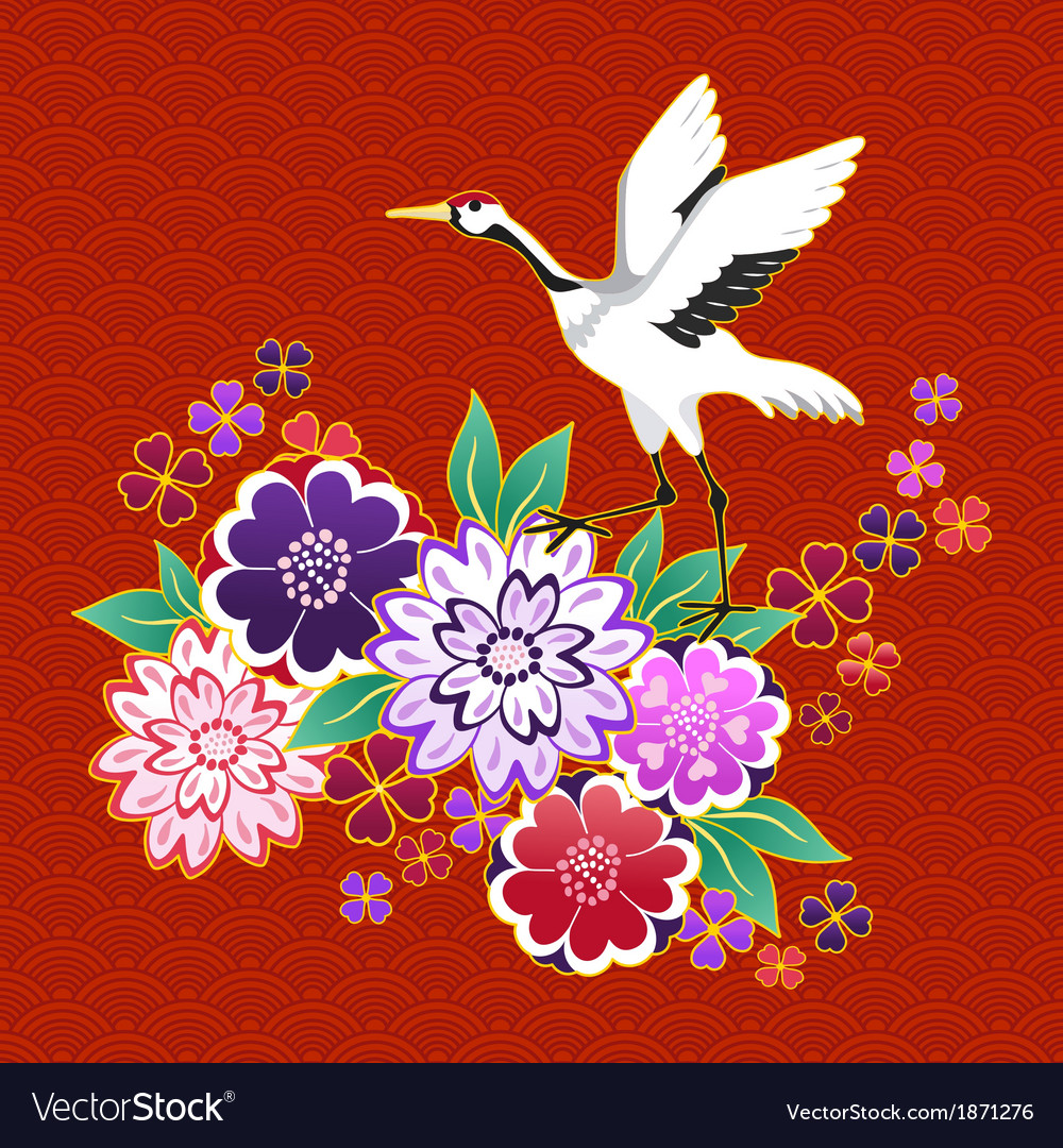 Kimono decorative motif with flowers and crane vector | Price: 1 Credit (USD $1)