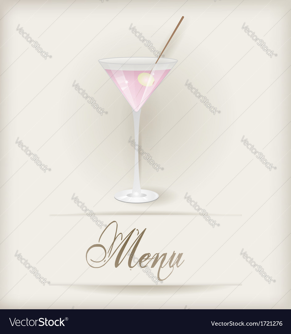 Menu template with martini vector | Price: 1 Credit (USD $1)