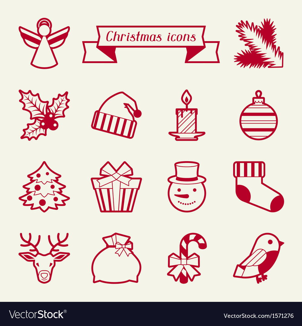 Set of merry christmas icons and objects vector | Price: 1 Credit (USD $1)