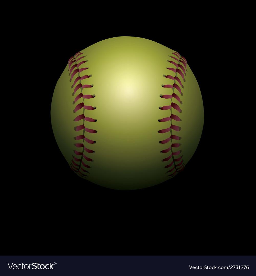 Softball on black vector | Price: 1 Credit (USD $1)