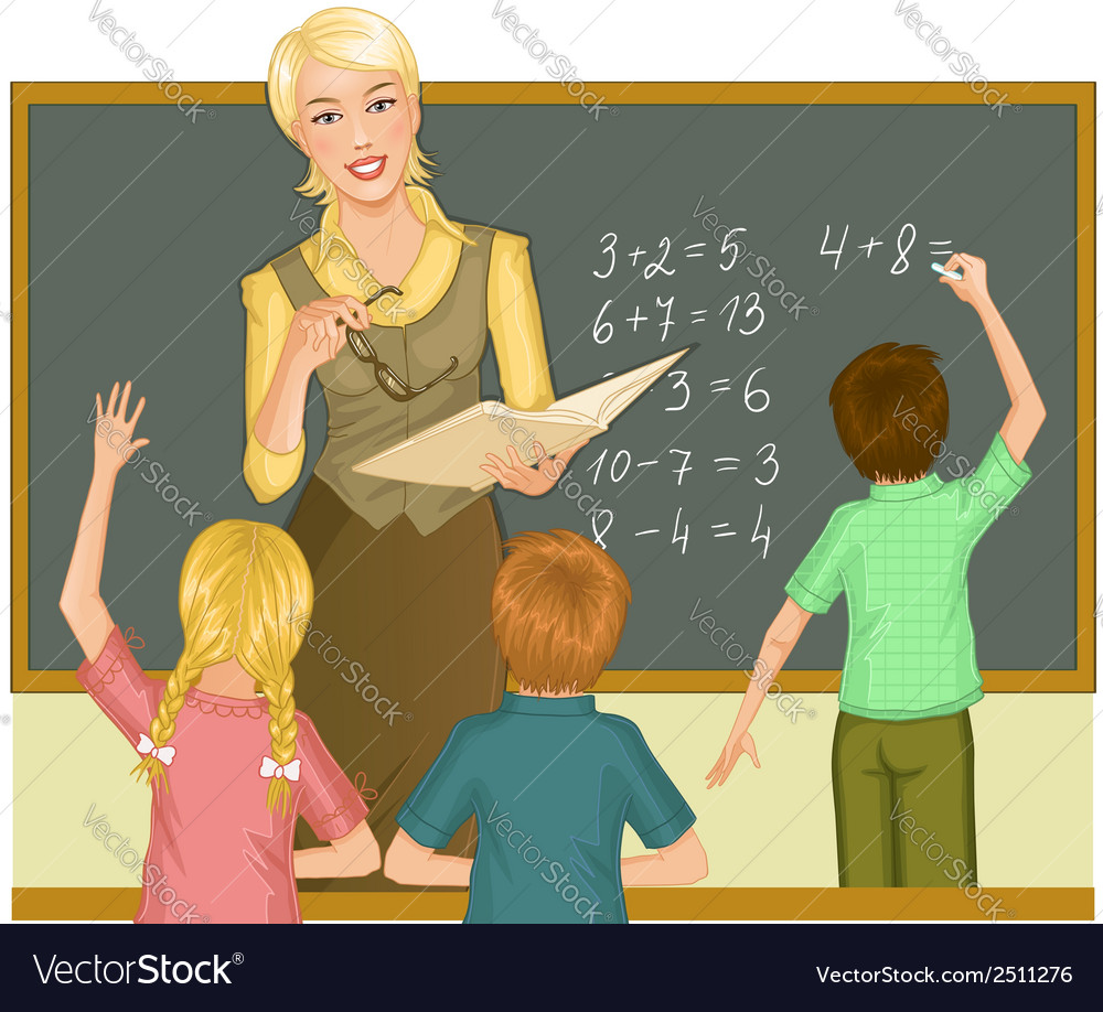 Teacher at blackboard explains children vector | Price: 1 Credit (USD $1)
