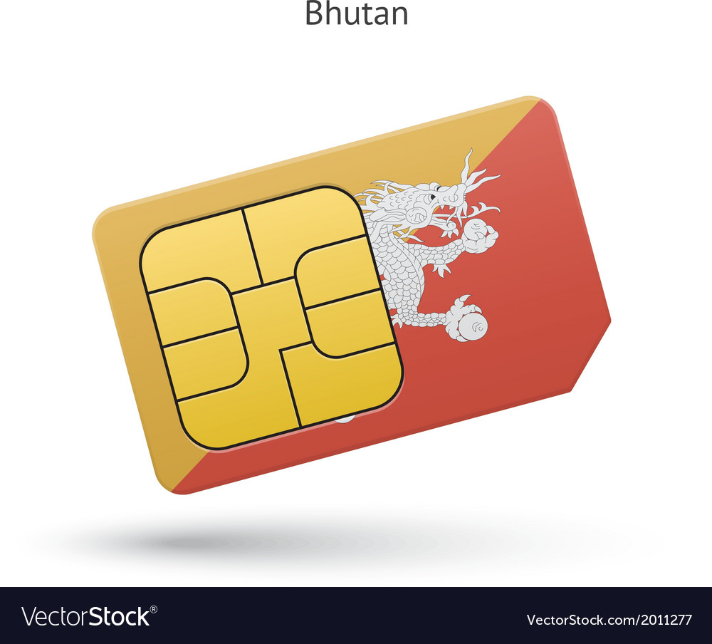 Bhutan mobile phone sim card with flag vector | Price: 1 Credit (USD $1)