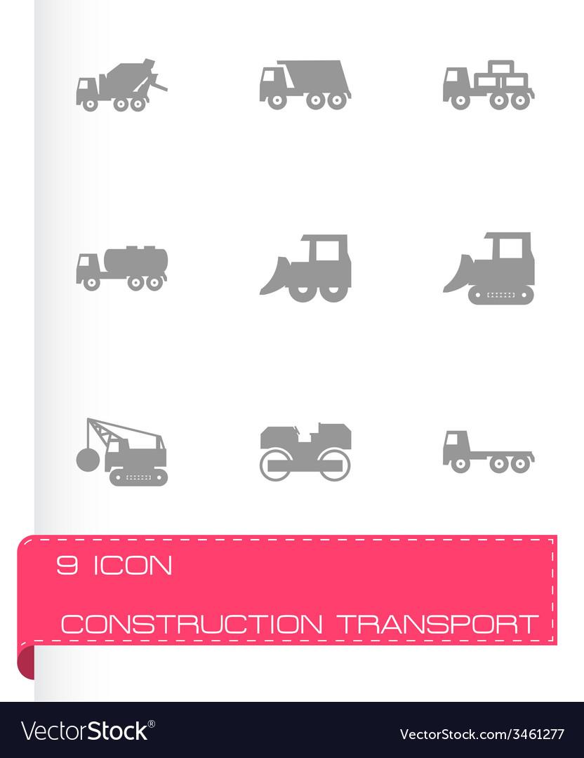 Black construction transport icon set vector | Price: 1 Credit (USD $1)