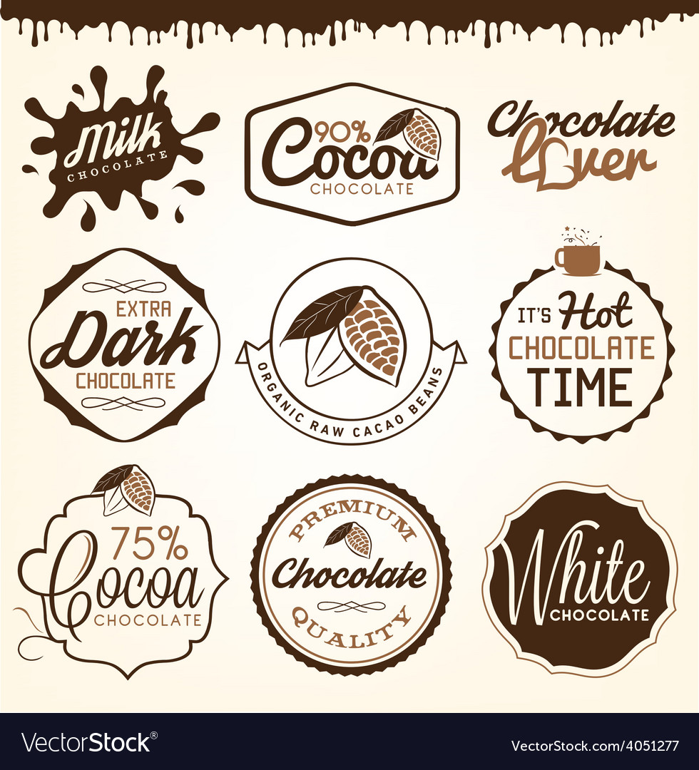 Chocolate badges and design elements vector