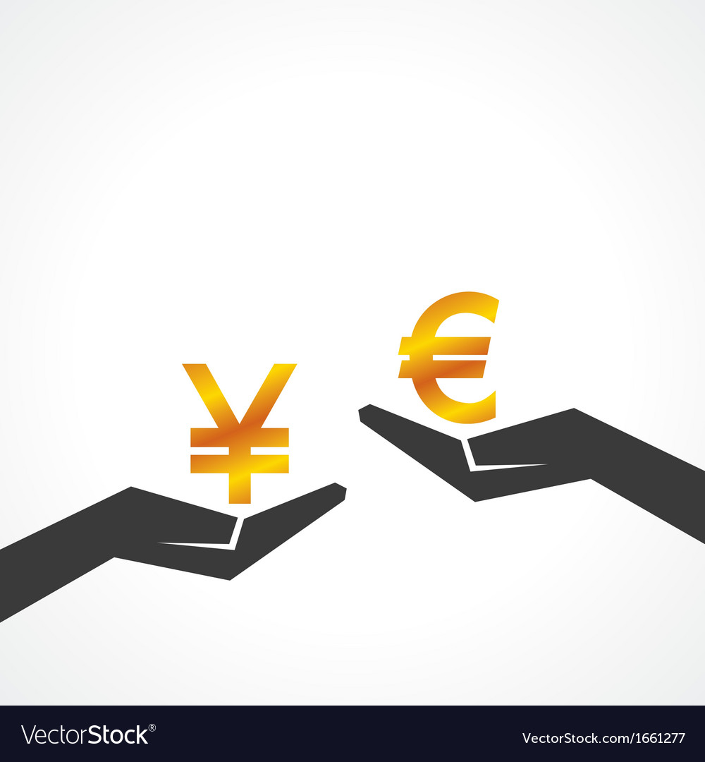 Hand hold yen and euro symbol to compare vector | Price: 1 Credit (USD $1)