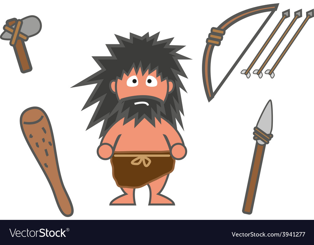 Man and equipments ancient vector | Price: 1 Credit (USD $1)