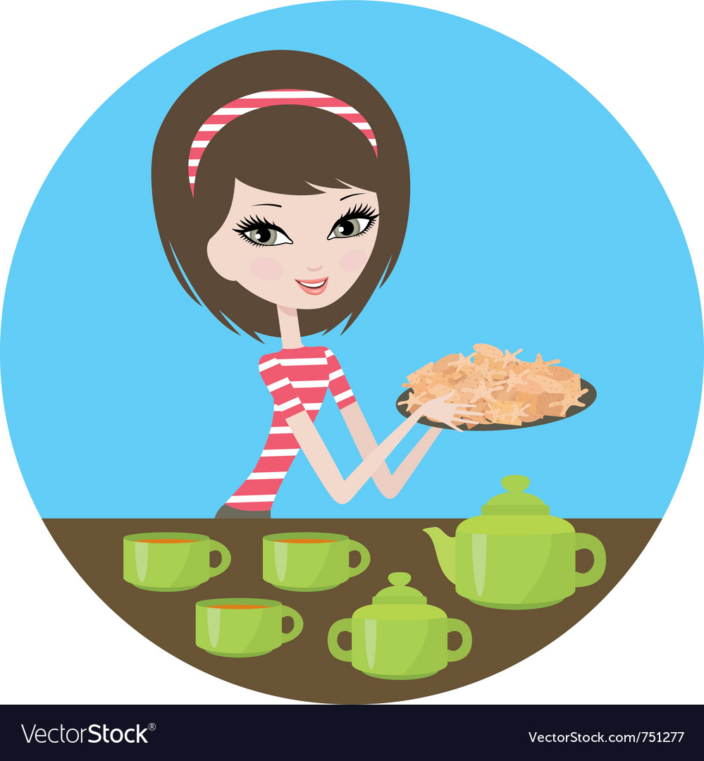 Pretty girl with cookies vector | Price: 3 Credit (USD $3)