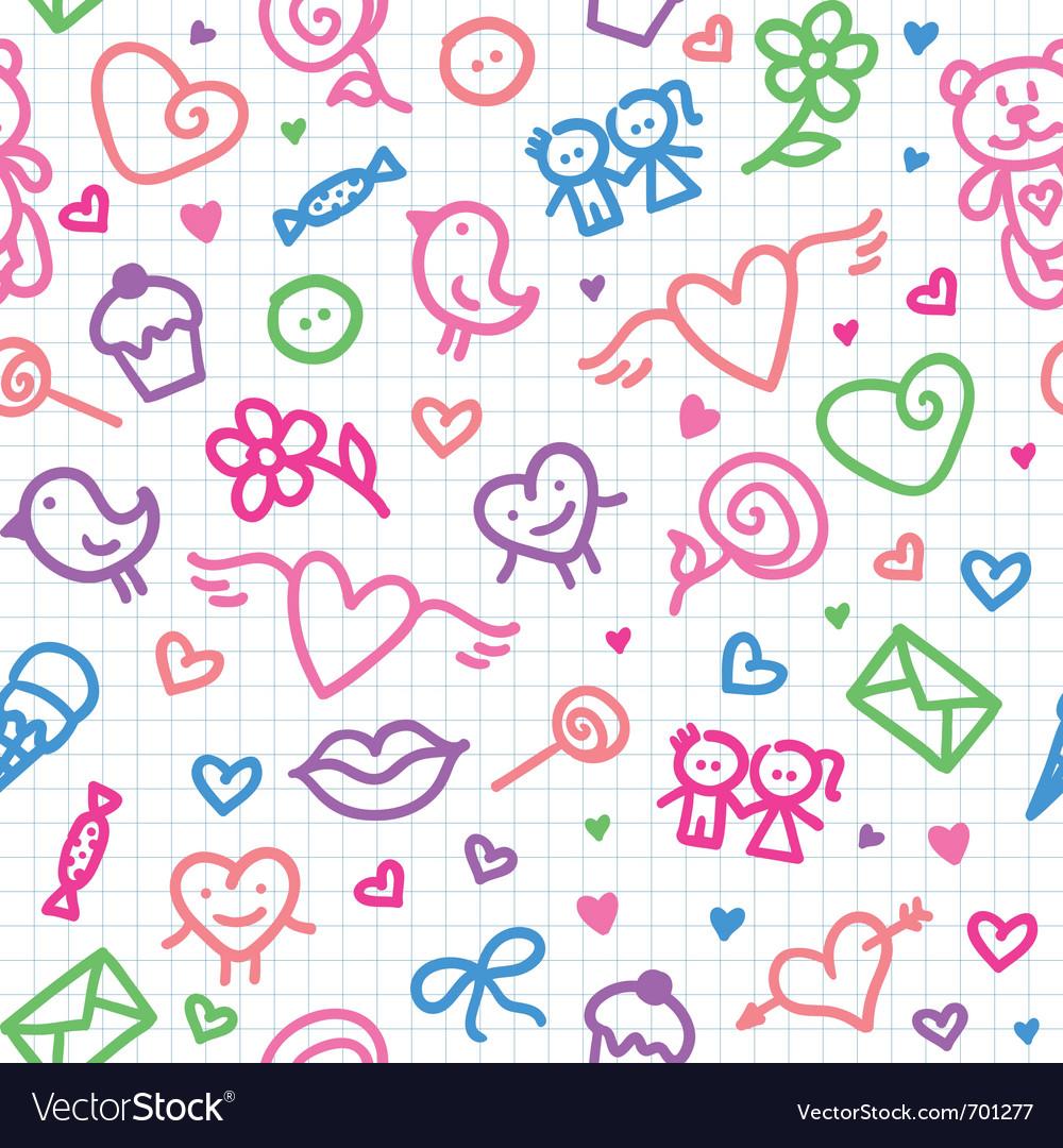 Romantic seamless pattern vector | Price: 1 Credit (USD $1)