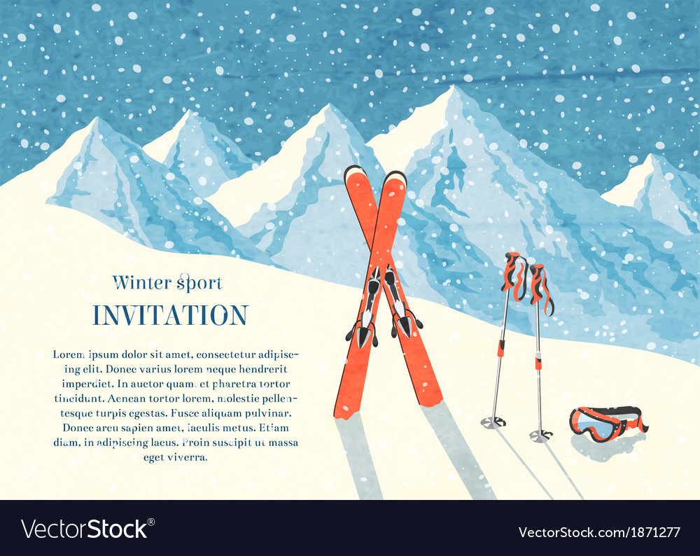 Ski winter mountain landscape card vector | Price: 1 Credit (USD $1)