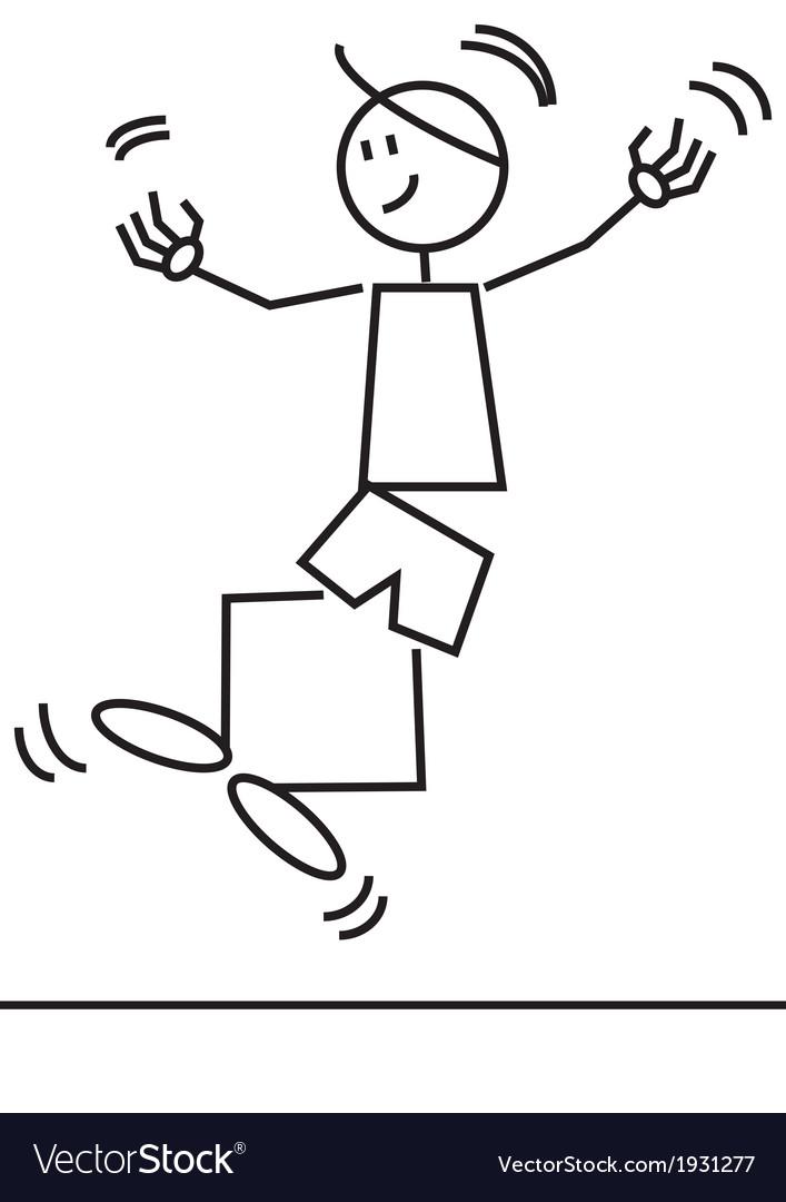 Stick figure jumping vector