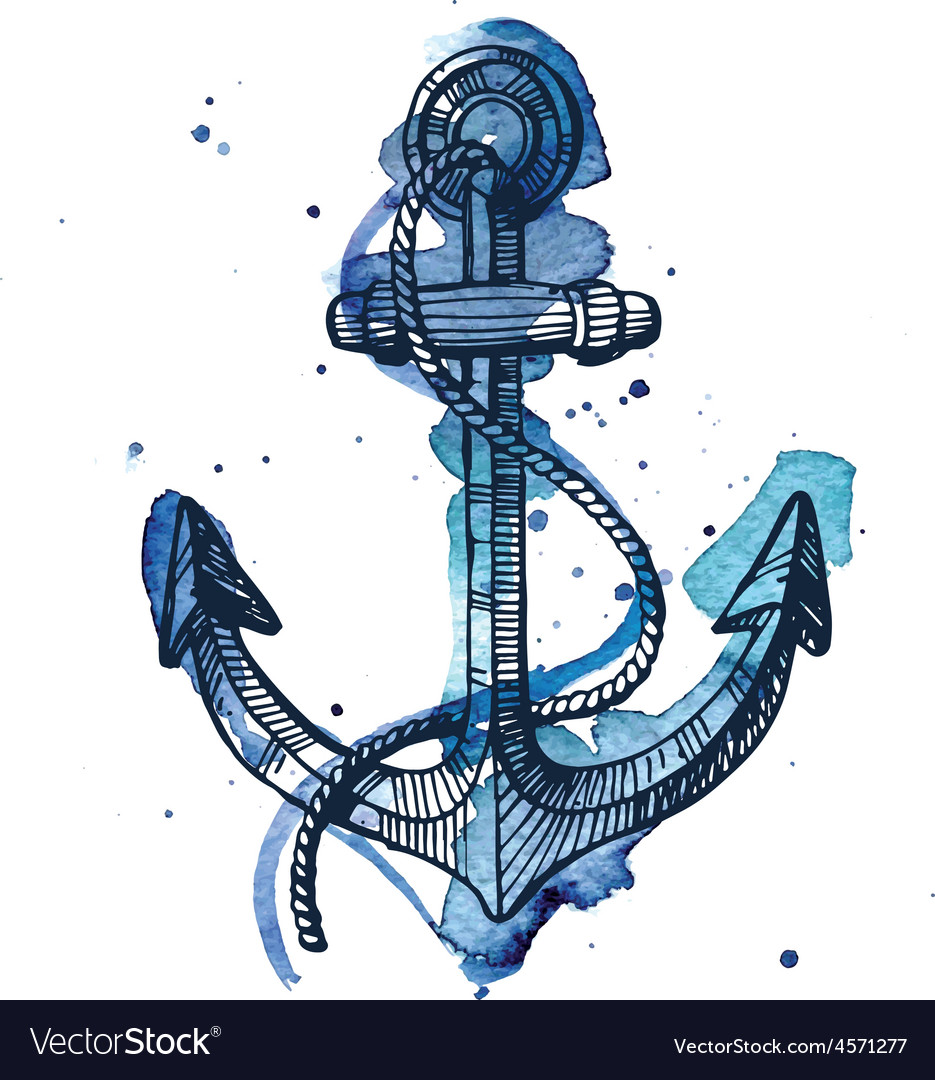 Watercolor and ink of an anchor vector | Price: 1 Credit (USD $1)