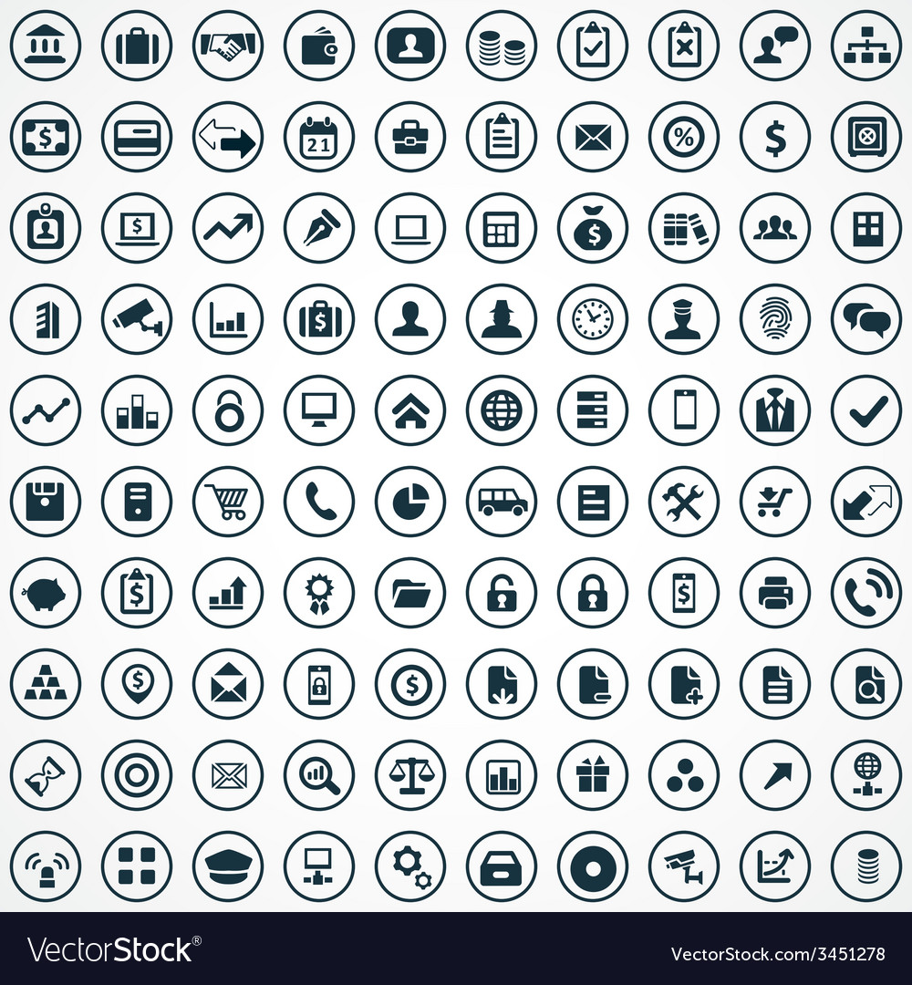 100 bank icons vector | Price: 1 Credit (USD $1)