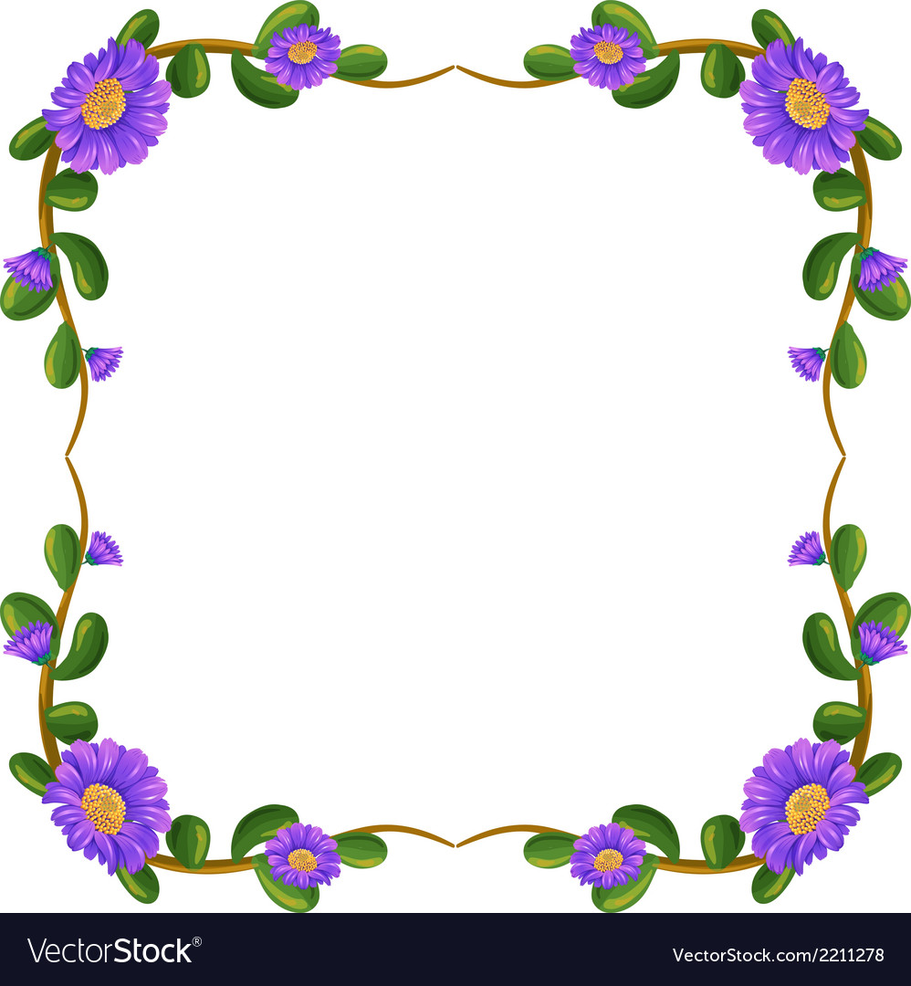 A floral margin with violet flowers vector | Price: 1 Credit (USD $1)