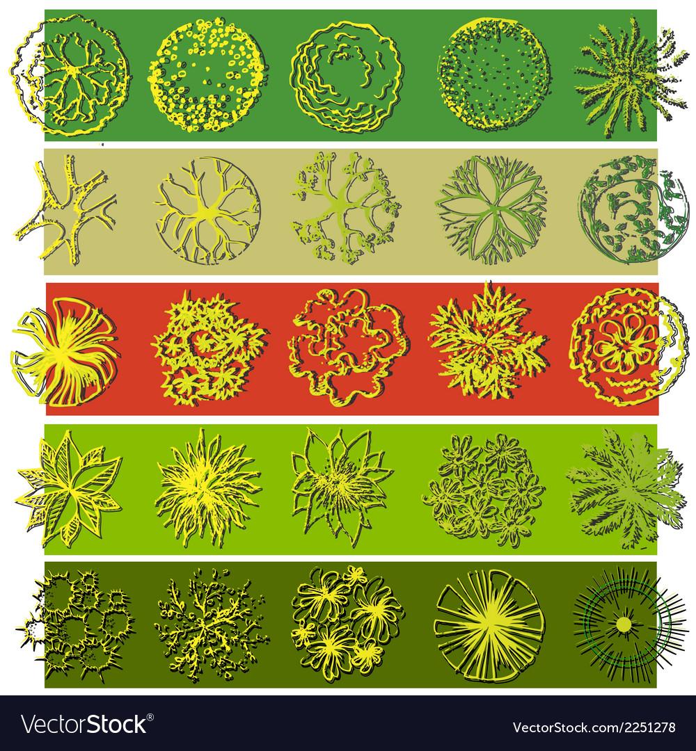 A set of treetop symbols vector | Price: 1 Credit (USD $1)