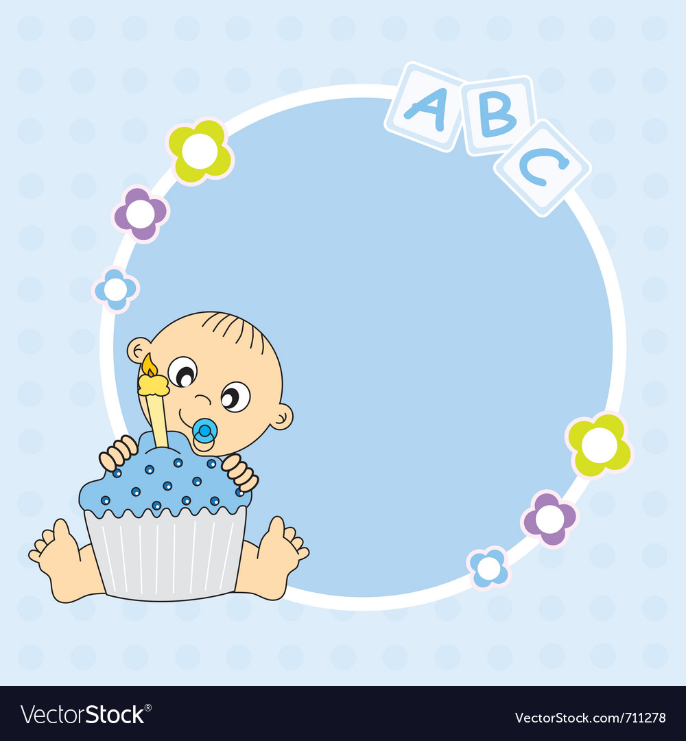 Baby boy with cake vector | Price: 1 Credit (USD $1)