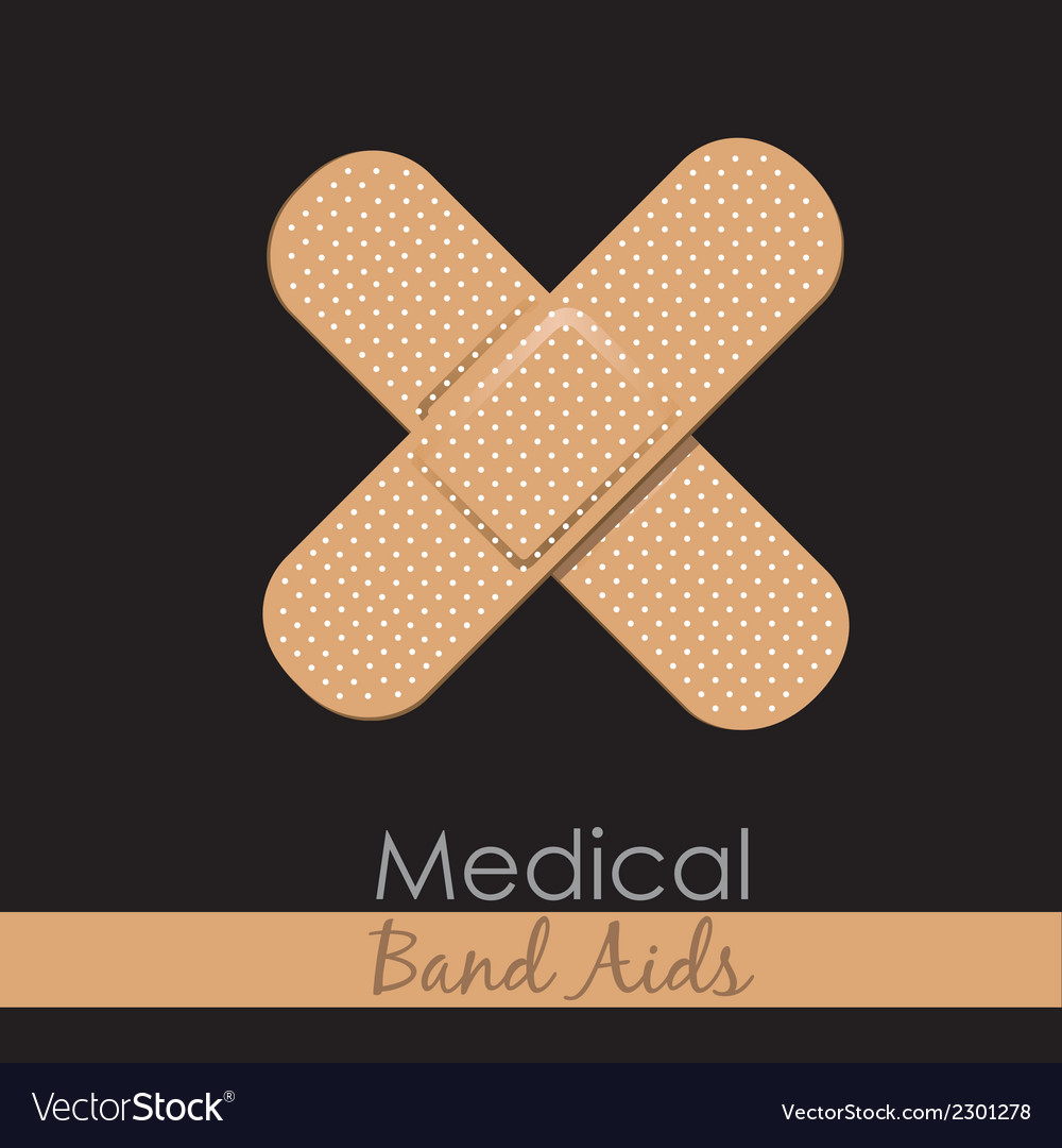 Bandages forming a cross on brown background vector | Price: 1 Credit (USD $1)
