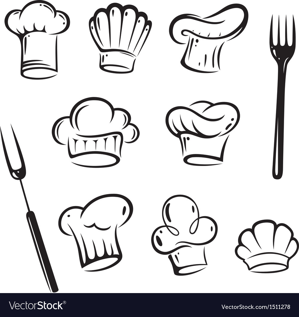 Chef hats design elements vector