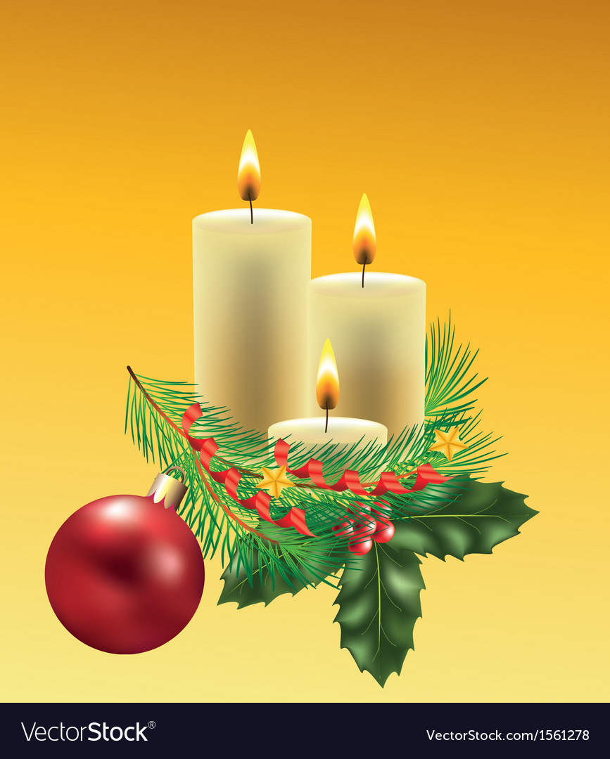 Christmas candles branche vector | Price: 1 Credit (USD $1)