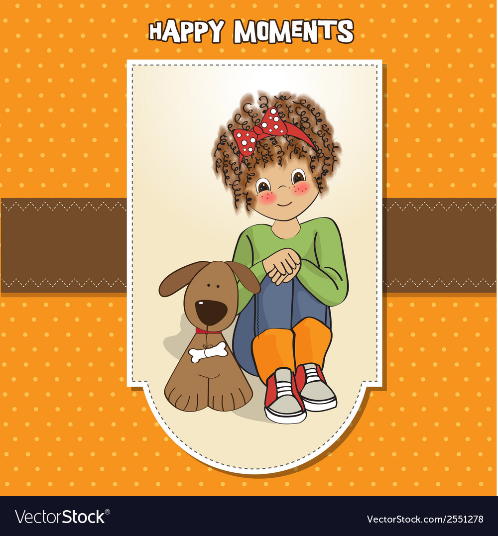 Curly little girl and her dog vector | Price: 1 Credit (USD $1)