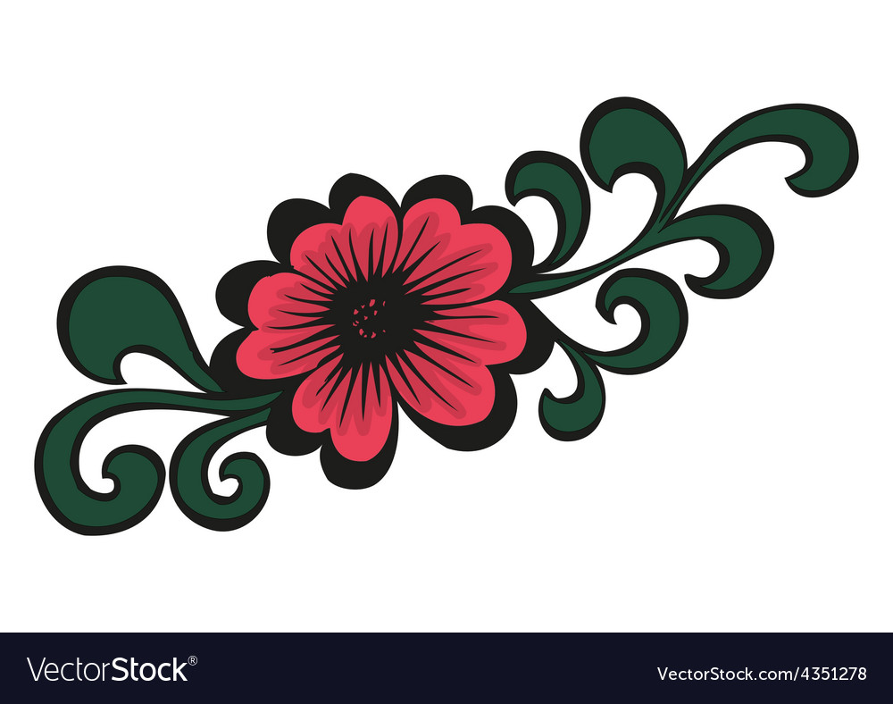 Doodling colorful flower in tattoo style vector | Price: 1 Credit (USD $1)