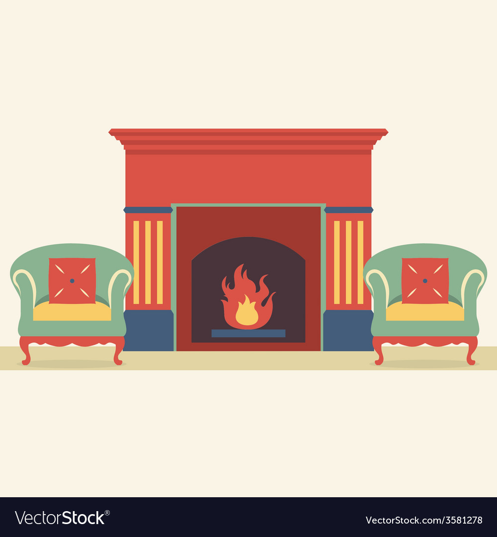 Empty sofas and fireplace in living room interior vector | Price: 1 Credit (USD $1)