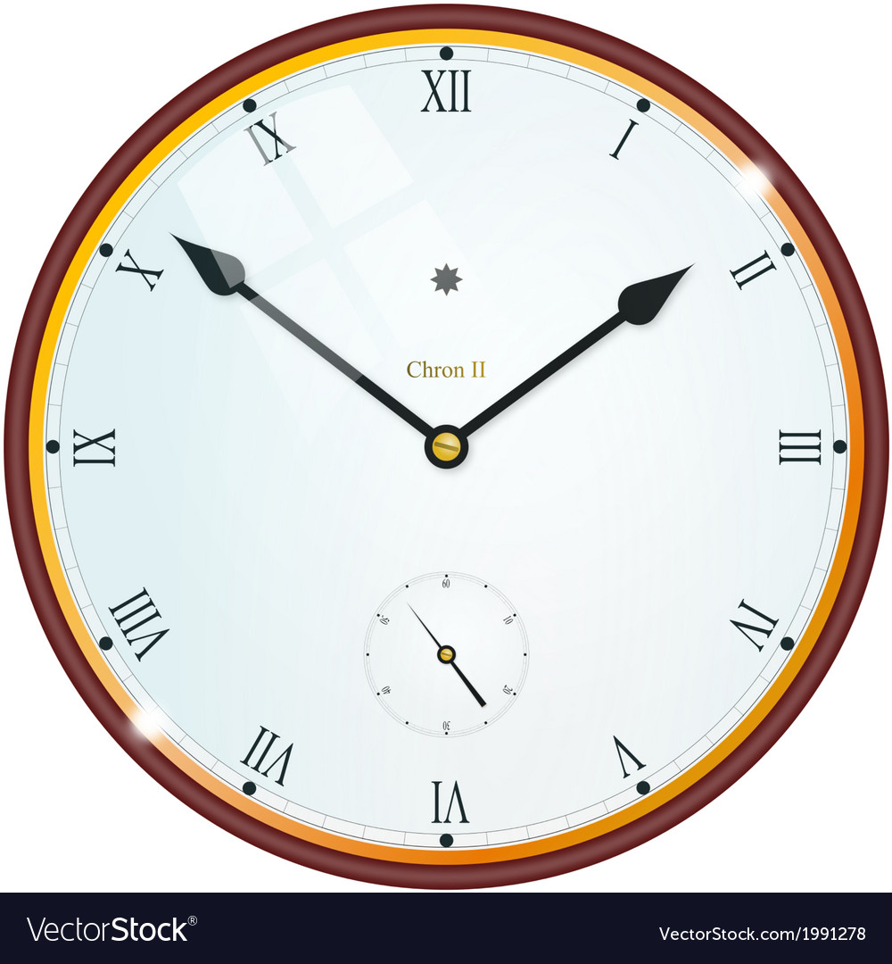 Golden clock with roman numbers vector | Price: 1 Credit (USD $1)