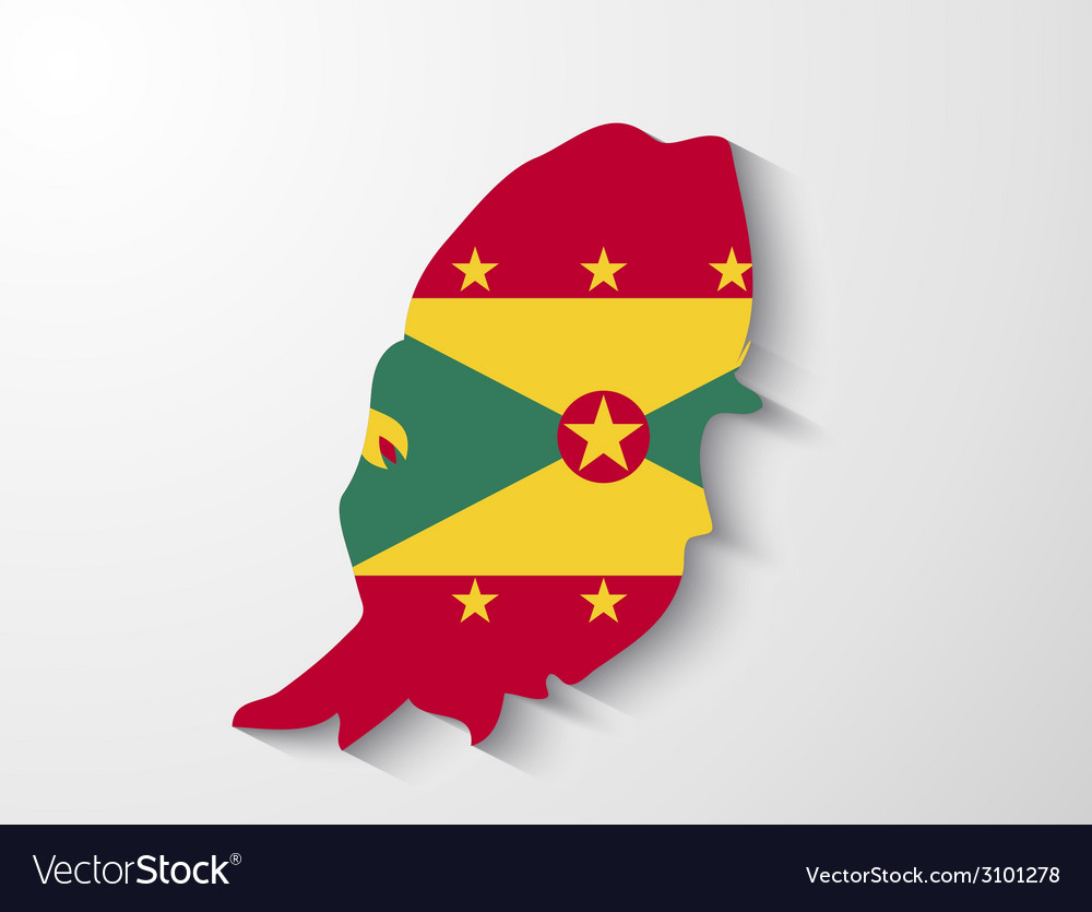 Grenada country map with shadow effect vector | Price: 1 Credit (USD $1)