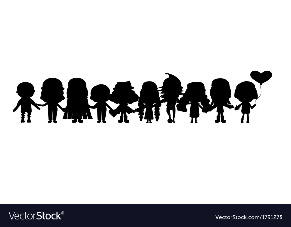 Group of childrens silhouettes vector | Price: 1 Credit (USD $1)