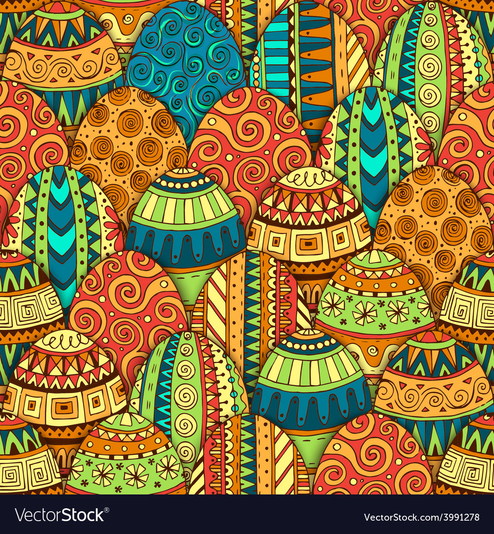 Hand-drawn doodle easter seamless pattern vector | Price: 1 Credit (USD $1)